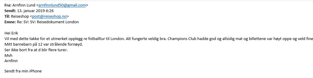 Fotballtur Chelsea tilbakemelding.